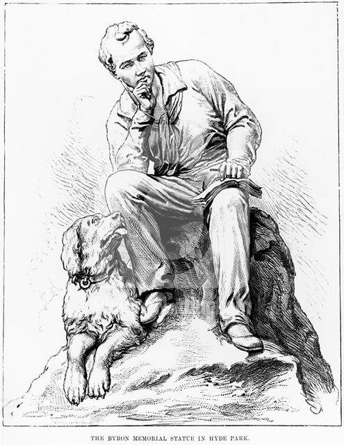 Lord Byron memorial statue, Hyde Park Corner, London, 1888