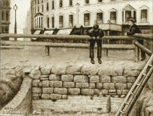 Old town walls revealed in the cellar, during the demolition of the Three Crowns, Parliament Street,