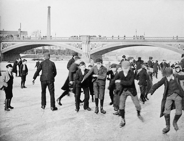Ice Skaters on the River Trent, frozen at Trent Bridge
