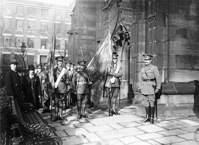 59th (2nd Nottinghamshire) Regiment of Foot outside St Mary's Church for their colours ceremony