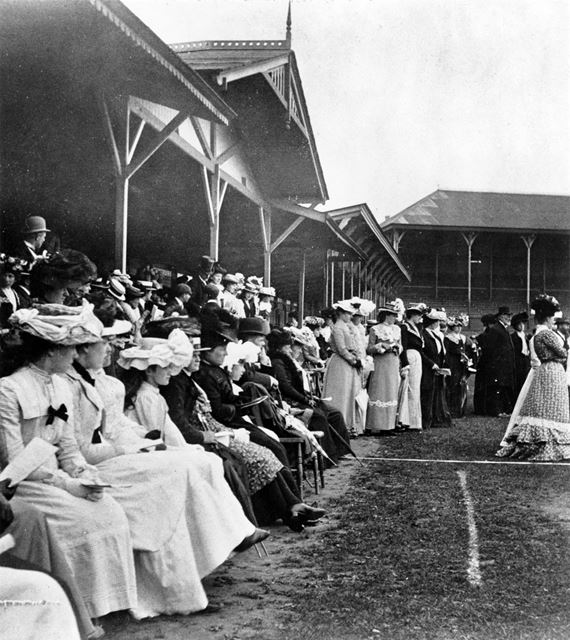 Ladies Cycling Trials at Trent Bridge Cricket Ground, West Bridgford, c 1903?