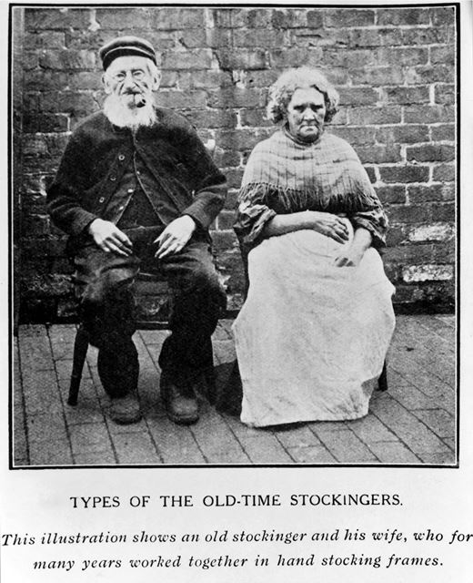 'Types of the Old-Time Stockingers' - Husband and wife Framework-knitters