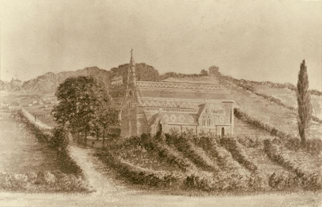 St Matthias' Church - Shown before the surrounding streets were developed