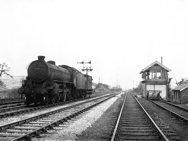 Locomotive passing Bestwood Junction signal box