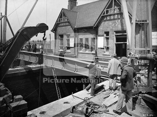 The LMS Railway Bridge during widening - Wollaton Road