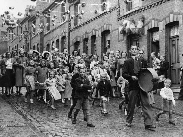 Mr H Hawksley leading the coronation celebrations, St Albans Street, Sherwood, Nottingham, 1953