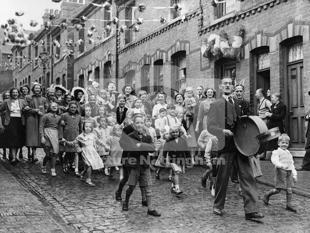 Mr H Hawksley leading the coronation celebrations, St Albans Street, Sherwood, Nottingham, 1953