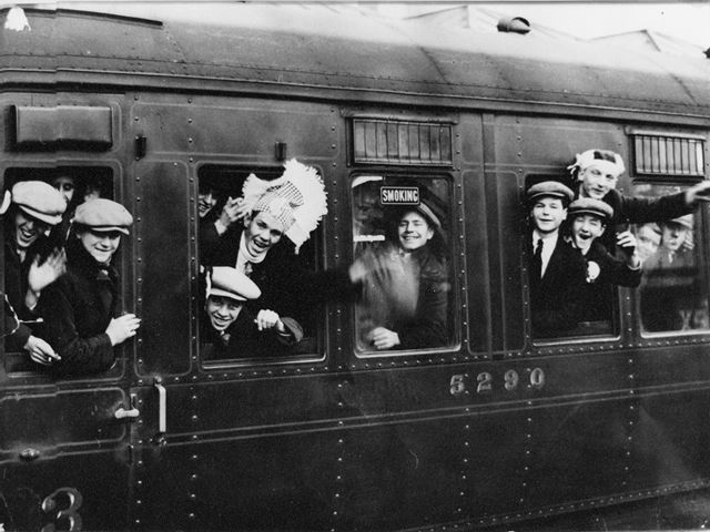Football Supporters, Train Station, Notitngham, 1931
