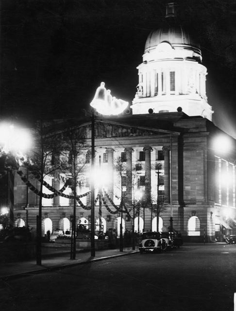 1937 Coronation, decorations, council house, Old Market Square, 1937