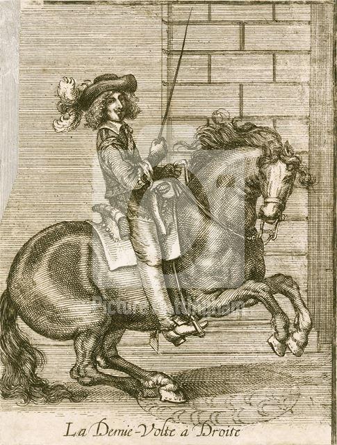 'La Demi-Volte a Droit' (equestrian stance) - William Cavendish, 1st Duke of Newcastle at his favour