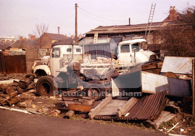 Scrapyard, St Peter's Street, Radford, Nottingham, 1968
