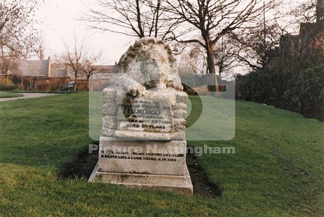Grave of William Thompson (Bendigo), St Mary's Burial Ground, Nottingham, 1987
