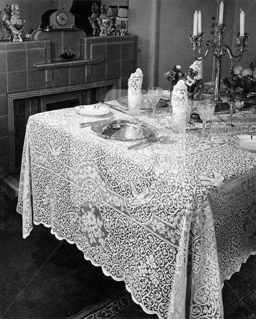 Nottingham Lace ? Tablecloth, c 1950