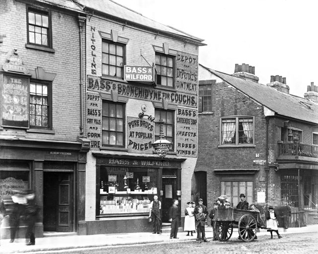 The Original Dog and Partridge public house, and Bass and Wilford Chemist, Lower Parliament Street,