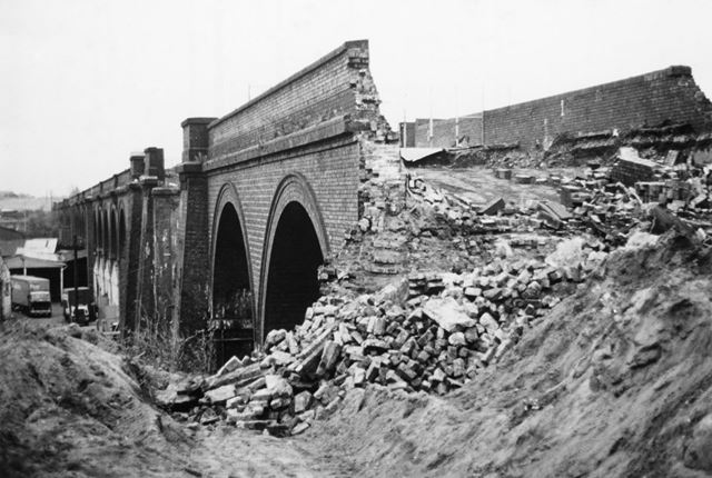 Demolition of Great Central Viaduct, Hucknall Lane, Bulwell, Nottingham, 1981
