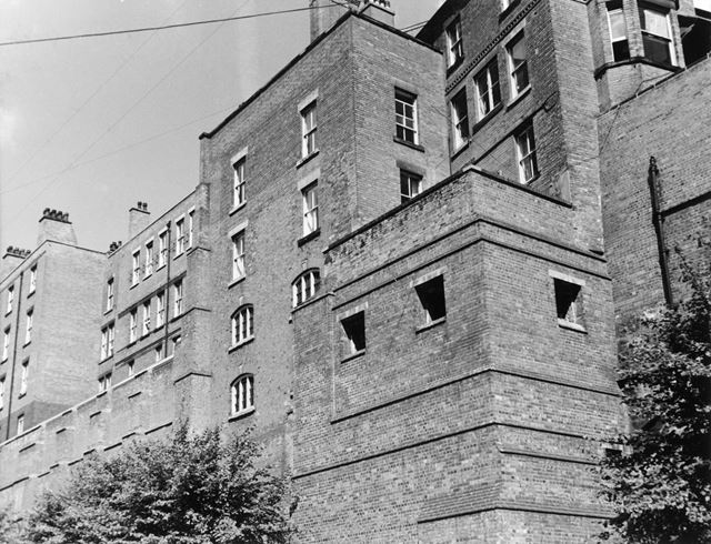 County Gaol, Shire Hall, from Cliff Road, Lace Market, Nottingham, 1963