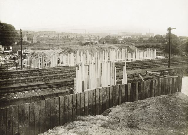 Construction of new road and bridge over LMS railway, Bobbers Mill, Nottingham, 1930