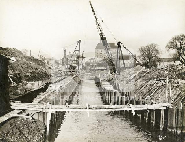 Construction of bridge over River Leen, Bobbers Mill, Nottingham, 1931