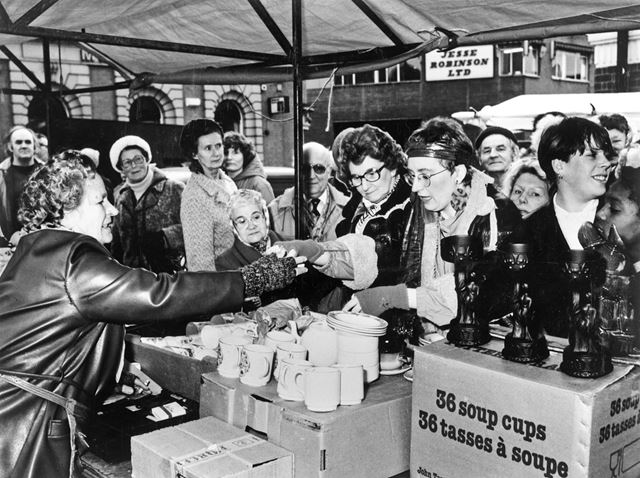TV personality Sue Pollard at market stall, Sneinton Market, Sneinton, 1980s