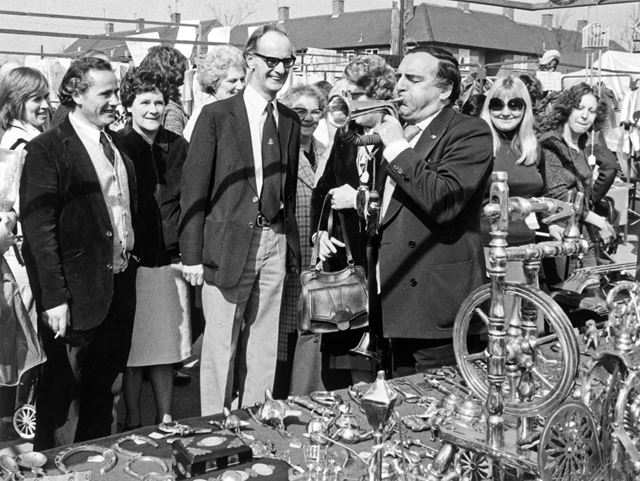 Billy Dainty at brass stall, Clifton Market, Southchurch Drive, Clifton, c 1980
