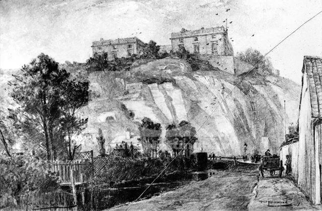 Nottingham Castle before restoration, showing the River Leen, 1870