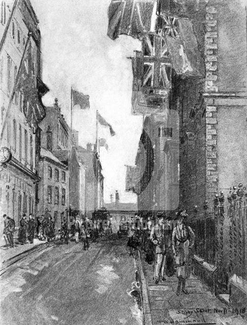 Stoney Street on Armistice Day, Nottingham, 1918