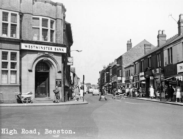 High Road from The Square-Wollaton Road Junction, Beeston, c 1954
