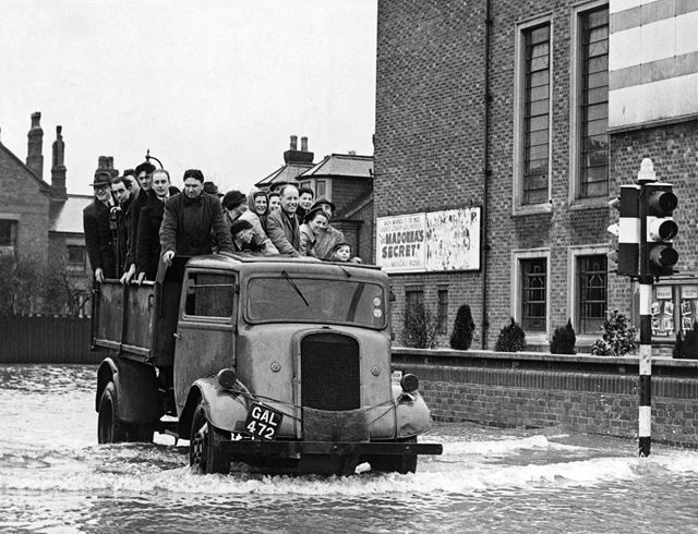 Majestic Cinema during floods, corner of Queen's Road and Station Road, Beeston, 1947