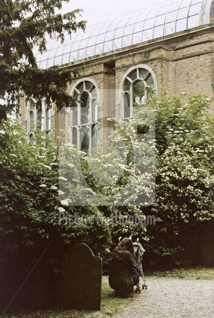 Conservatory from the church yard, Flintham Hall, off Inholms Road, Flintham, 1994