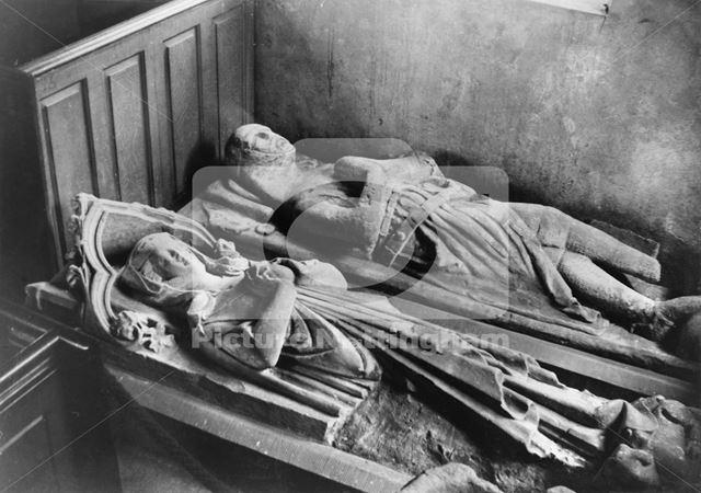 Tombs of John and Mathilda de Heriz inside Parish Church of St Lawrence, Gonalston, 1948