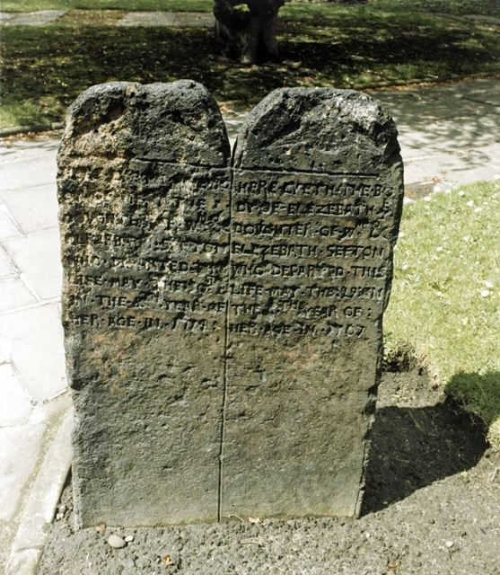 Headstone of Mary and Elizabeth Sefton, St Mary's Church, High Pavement, Nottingham, c 1980s
