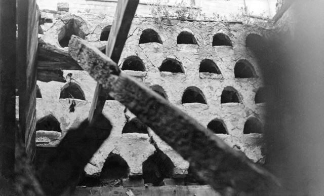 Nestboxes in Dovecote, Crabtree Farm, Eden Yard, Bulwell , Nottingham, 1978