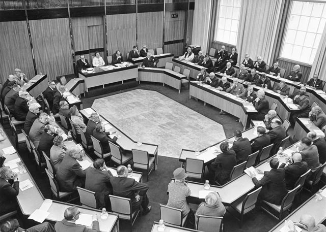 Council in Session at County Hall, Loughborough Road, West Bridgford, 1973
