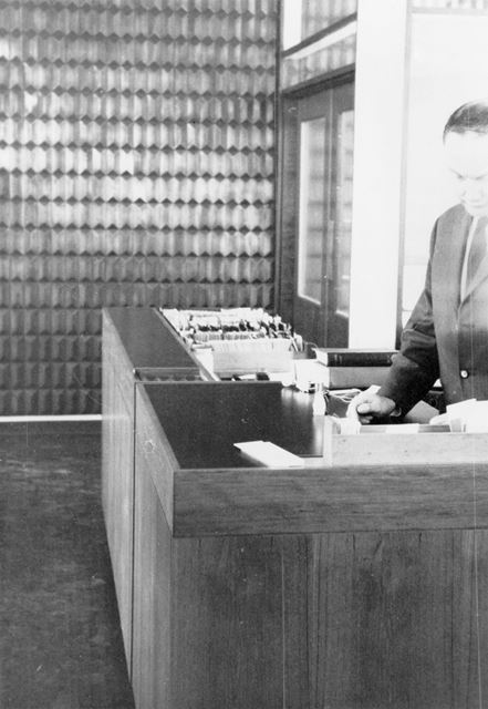 Lending Library Control Desk, County Hall Loughborough Road, West Bridgford, c 1960s