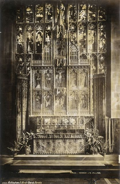 Reredos, St Mary's Church, High Pavement, Lace Market, Nottingham, c 1855