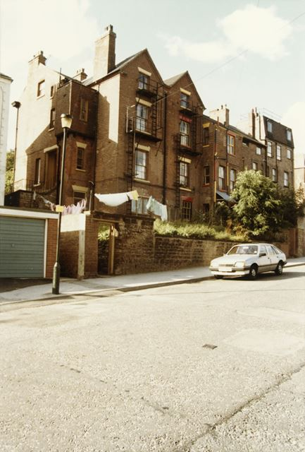 Rear of 46-58 Elm Ave from St Ann's Hill Road, St Ann's, Nottingham, 1985