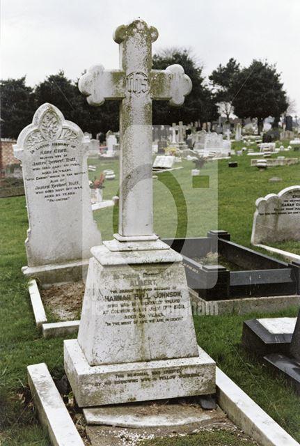 Memorial Gravestone to Albert Johnson, Carlton Cemetery, Cavendish Road, Carlton, 1989