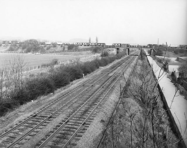 Great Northern Line Crosses Midland Railway Line, Carlton, 1973