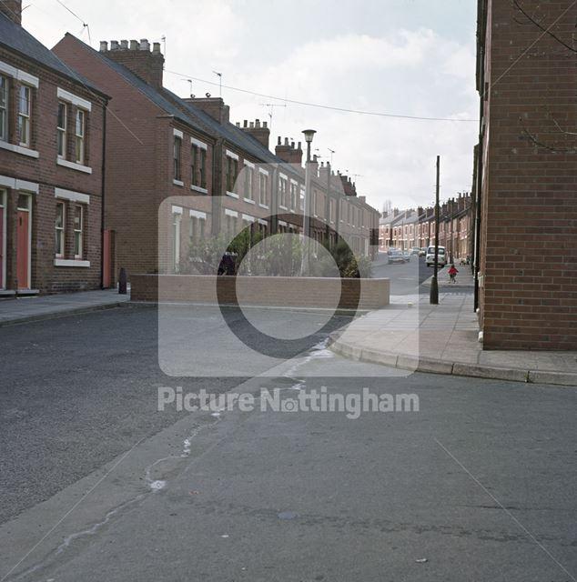 Showing Barrier, Minerva Street, Bulwell, Nottingham, c 1970s