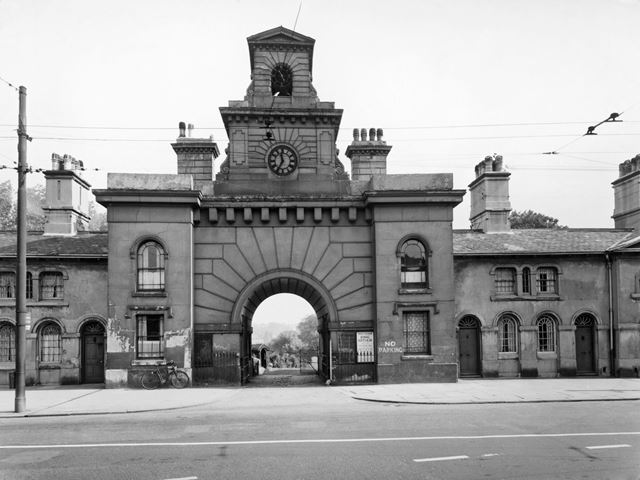 Canning Terrace - Cemetery Gateway and Almshouses, Canning Circus, Nottingham, 1956