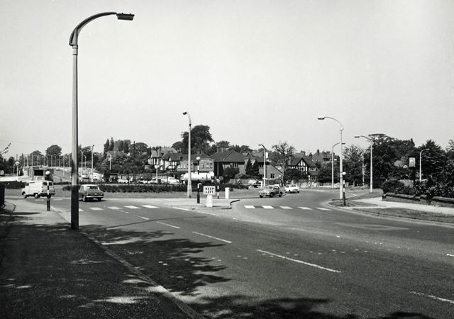 Junction with Wollaton Vale and Woodside Road, Derby Road, Lenton Abbey, Nottingham, 1967