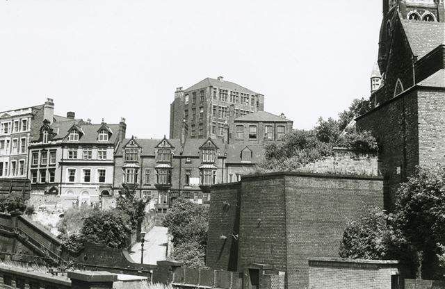 Garners Hill towards Weekday Cross, Lace Market, Nottingham, c 1960s ?