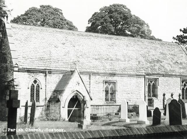 Exterior of St Giles Church, Church Lane, Costock, c 1950s ?