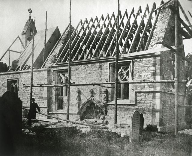 St Giles Church under Restoration, Church Lane, Costock, 1862