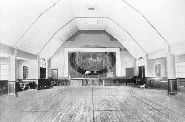 VIllage Hall Interior, Mansfield Road, Clipstone, c 1920 ?
