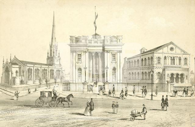 Holy Trinity Church, Mechanics Institute and Baptist Chapel, Milton Street, Nottingham, c 1850
