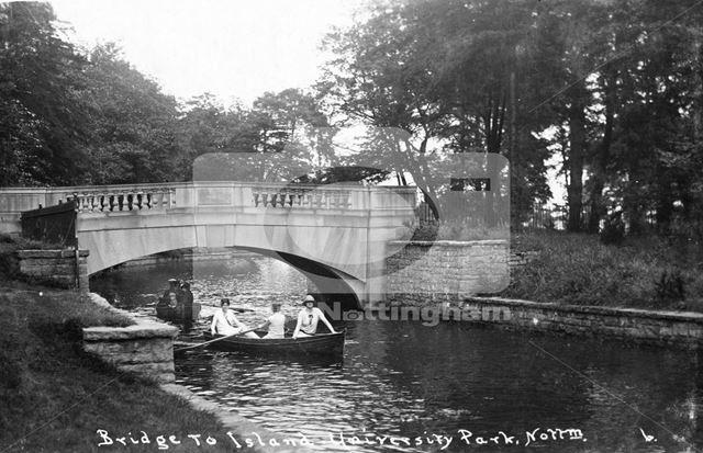 Boating Lake, University of Nottingham, University Park, Lenton, Nottingham, c 1930 ?
