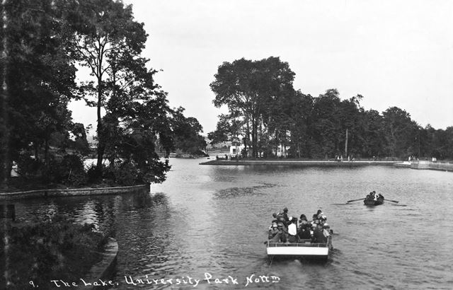 Boating Lake, University of Nottingham, University Park, Lenton, Nottingham, c 1930 ?