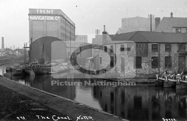 Canal wharves and warehouses, Carrington Street, Nottingham, c 1925