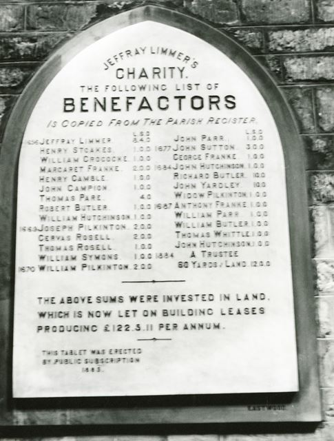 Benefaction Board in St Mary's Church, Radcliffe on Trent, 1977